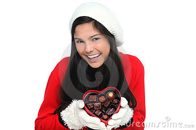 Young Woman with Valentine Heart Candy Box