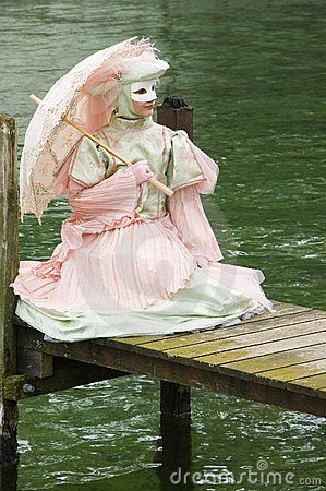 Young woman with a Venetian costume Editorial Stock Image