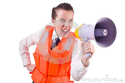 Young woman with vest and loudspeaker