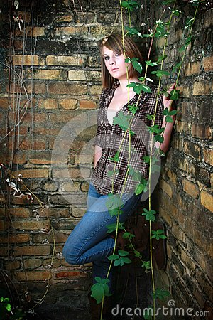 Young woman with vines