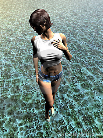 Young woman walking in water