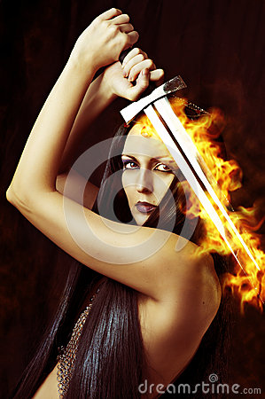 Free Young Woman Warrior With Sword Royalty Free Stock Photos - 26447668
