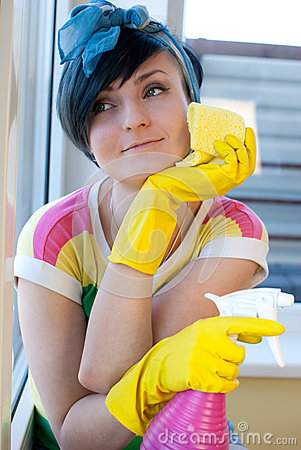 Woman window wash