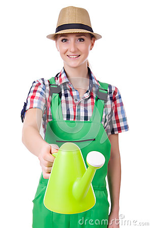Young woman with watering can