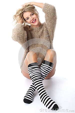 Free Young Woman Wearing A Jumper And Knee Socks Stock Photo - 51090410