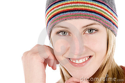 Young woman wearing a beanie style hat