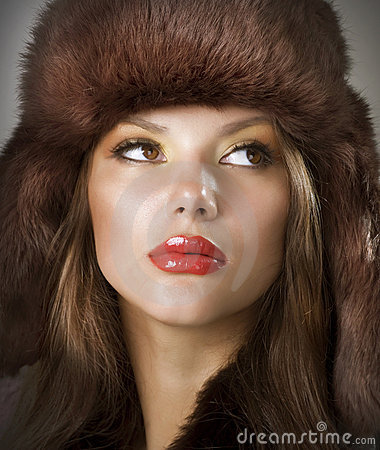 Young Woman wearing Fur Hat