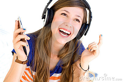 Young woman wearing headphones