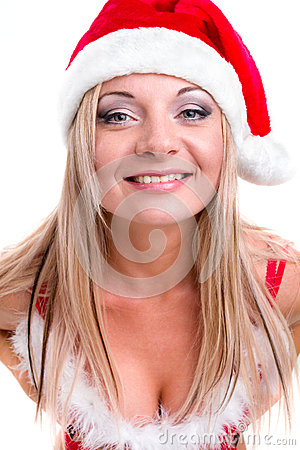 Young woman wearing santa claus clothes