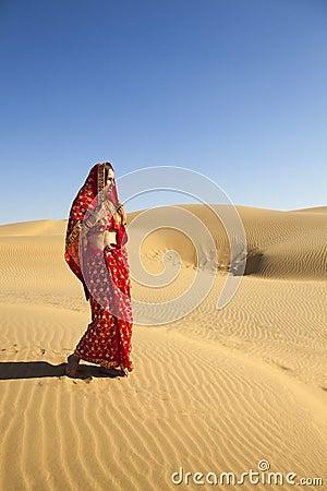 Young woman wearing a sari