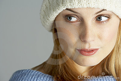 Young Woman Wearing Winter Clothes