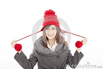 young woman wearing winter coat