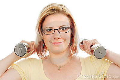 Young woman with weights