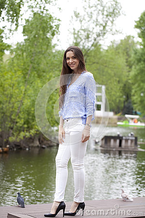 Body Young Woman In White Pants Royalty Free Stock Photo - Image ...