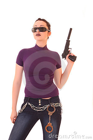 Young woman win gun isolated