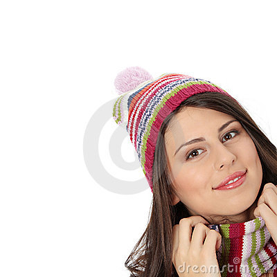 Young woman with winter cap
