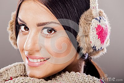 Young woman with winter clothes
