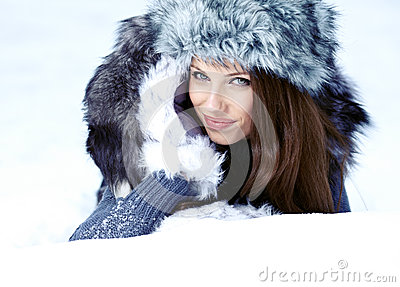 Young woman winter portrait.