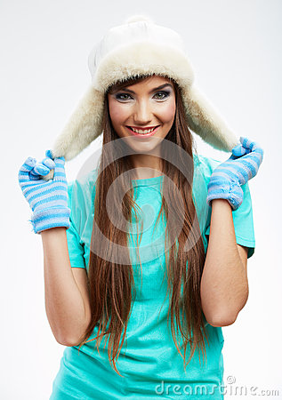 Young woman winter  style portrait,
