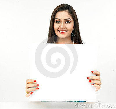Free Young Woman With A Blank Placard Stock Images - 8090674