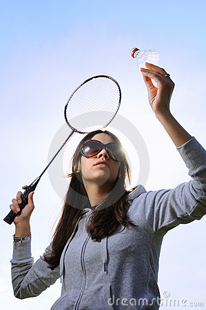 Free Young Woman With Badminton Racquet Stock Image - 9368801