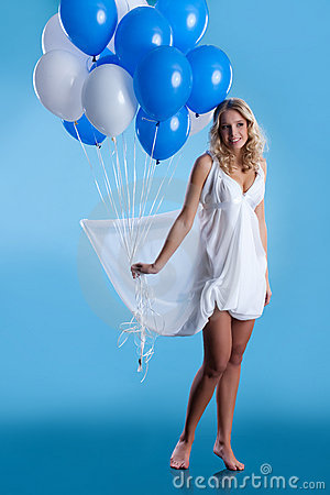 Free Young Woman With Balloons Stock Photography - 11990452