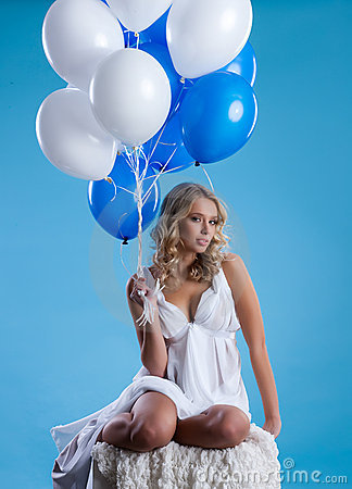 Free Young Woman With Balloons Stock Images - 11990704