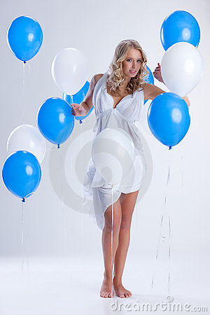 Free Young Woman With Balloons Royalty Free Stock Photos - 11990768
