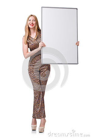 Free Young Woman With Blank Board Stock Images - 42583394
