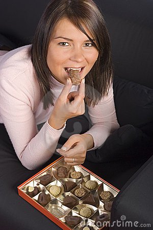 Free Young Woman With Box Of Chocolates Stock Image - 1719231