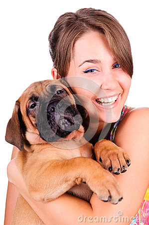 Free Young Woman With Bullmastiff Stock Image - 26349071