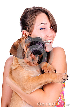 Free Young Woman With Bullmastiff Stock Photography - 26349082