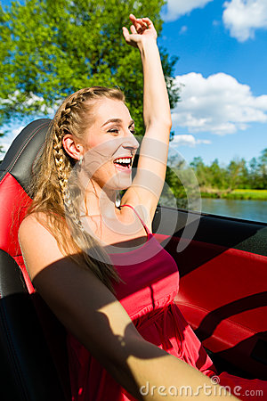 Free Young Woman With Cabriolet In Summer On Day Trip Stock Photos - 30386443