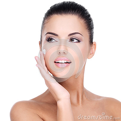 Free Young Woman With Cosmetic Cream On Face Royalty Free Stock Photos - 38897508
