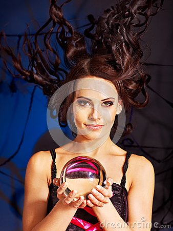 Free Young Woman  With Crystal Ball. Royalty Free Stock Images - 28880579