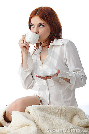 Free Young Woman With  Cup Of Coffee. Stock Photography - 18270172