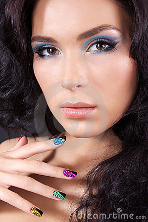Free Young Woman With Fashion Make-up And Manicure Royalty Free Stock Photos - 23314808