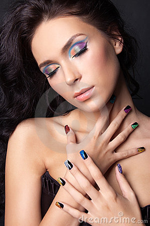 Free Young Woman With Fashion Make-up And Manicure Stock Photo - 23314890