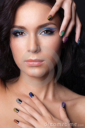 Free Young Woman With Fashion Make-up And Manicure Stock Photos - 23314903