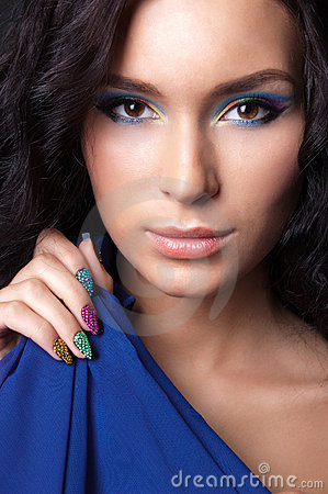 Free Young Woman With Fashion Make-up And Manicure Stock Photo - 23314920