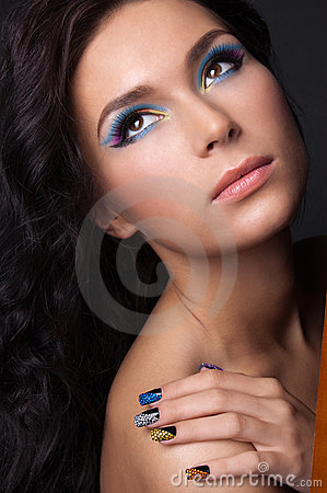 Free Young Woman With Fashion Make-up And Manicure Stock Photos - 23314943