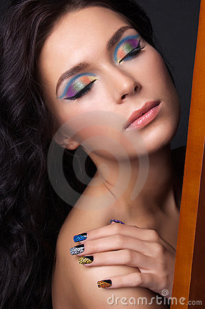 Free Young Woman With Fashion Make-up And Manicure Stock Image - 23314951
