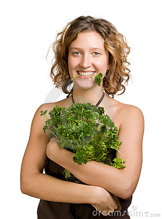 Free Young Woman With Fresh Parsley Stock Photography - 7353392