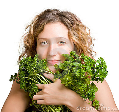 Free Young Woman With Fresh Parsley Royalty Free Stock Images - 7353399