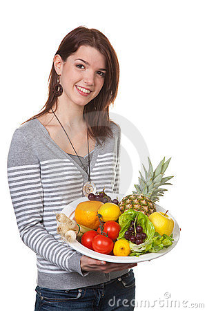 Free Young Woman With Fruit-filled Bowl In Their Hands Stock Photos - 8560893