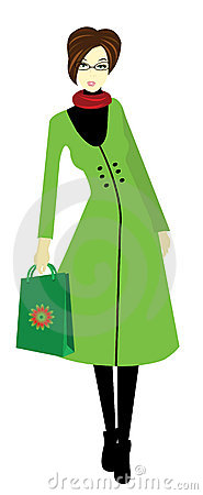 Free Young Woman With Glasses And Shopping Bag, Vector Royalty Free Stock Photos - 13233258