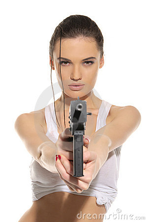 Free Young Woman With Gun Royalty Free Stock Photos - 20295448
