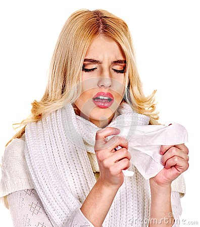 Free Young Woman With Handkerchief Having  Cold. Royalty Free Stock Photos - 34069548