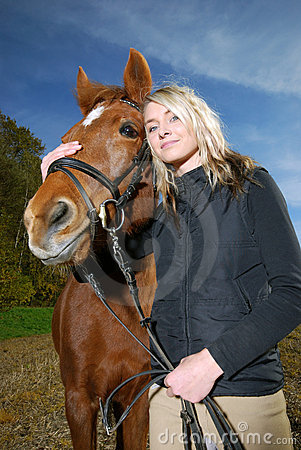 Free Young Woman With Horse Stock Image - 17018991