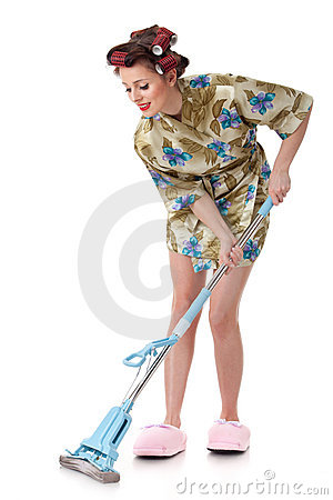 Free Young Woman With Mop. Stock Image - 19138811